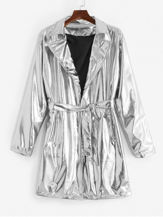 affordable Solid Color Long Metallic Trench Coat - SILVER L