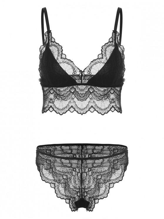 ce613a9b3c8 Scalloped Lace Bralette Lingerie Set