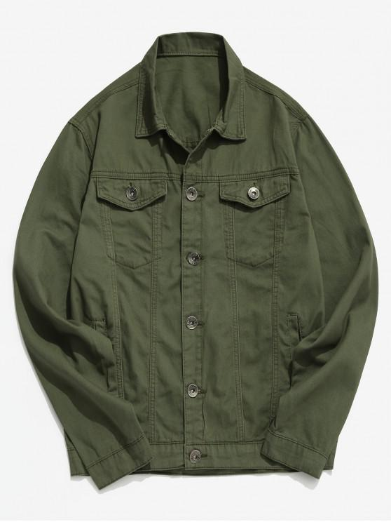 trendy Turndown Collar Front Pocket Button Fly Jacket - ARMY GREEN M