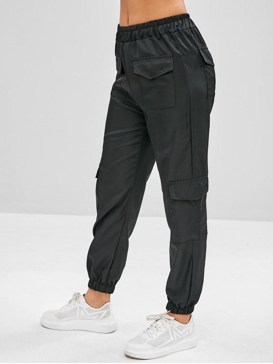 women's Patch Pockets Joggers Track Pants - BLACK L