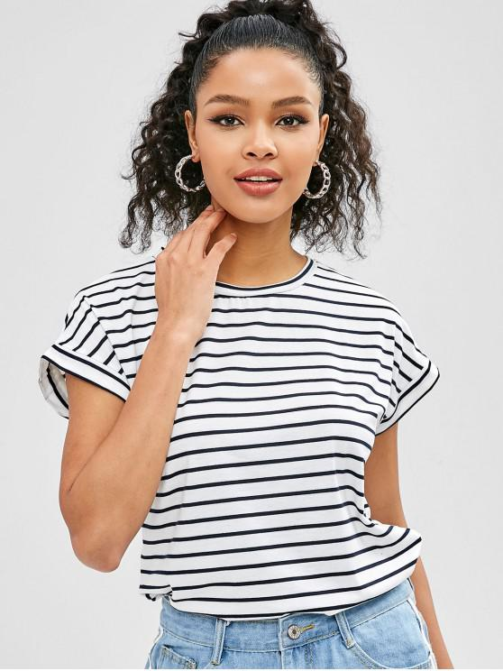 outfit Short Sleeves Striped Tee - WHITE S