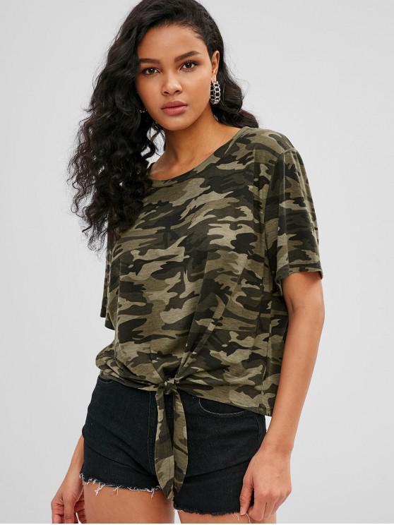 T-shirt morbida con stampa Tie Hem - Verde Mimetico L