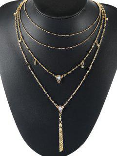 Collar De Múltiples Capas Con Diseño De Diamantes - Oro