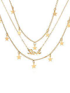 Forma De Estrella Collar De Aleación De Múltiples Capas - Oro