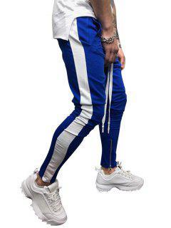 Side Striped Contrast Sports Pants - Blue L