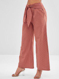 ZAFUL Striped Wide Leg Knot Pants - Brown M