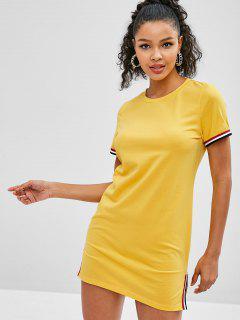 ZAFUL Slit Striped Trim Tee Dress - Bee Yellow L