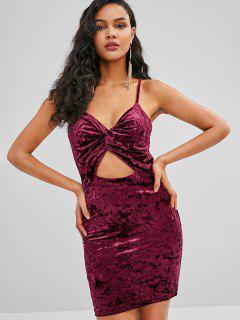 ZAFUL Velvet Twist Front Cami Dress - Plum Velvet M
