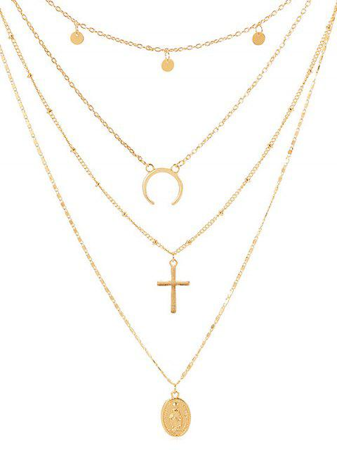 new Cross Shape Coin Decoration Multilayered Necklace - GOLD  Mobile
