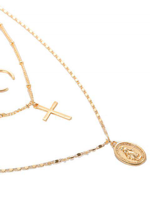 Форма креста Монета для украшения Многослойное Ожерелье - Золотой  Mobile