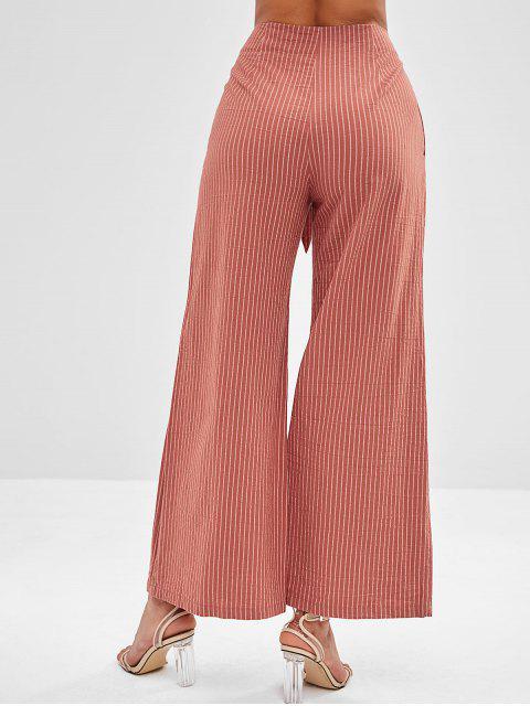 Pantalones de punto de pierna ancha a rayas ZAFUL - Marrón M Mobile