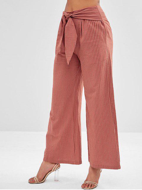 Pantalones de punto de pierna ancha a rayas ZAFUL - Marrón S Mobile