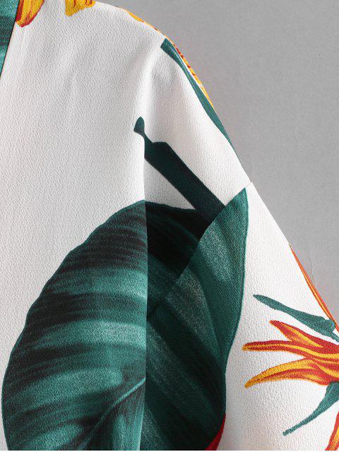 Принт растения С поясом Кимоно - Белый S Mobile