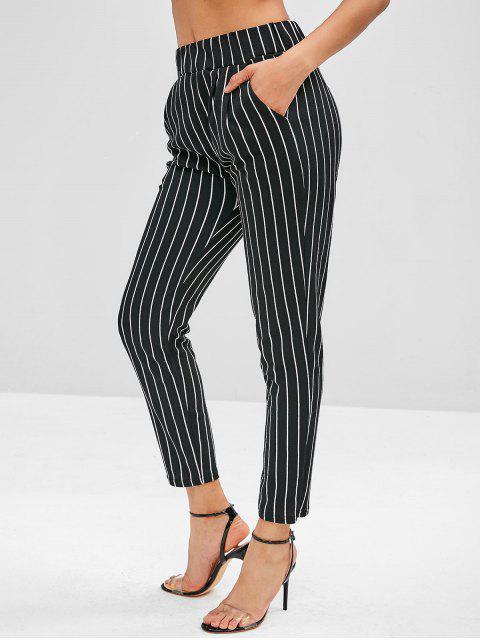 trendy Pocket Pinstriped Pencil Pants - BLACK M Mobile