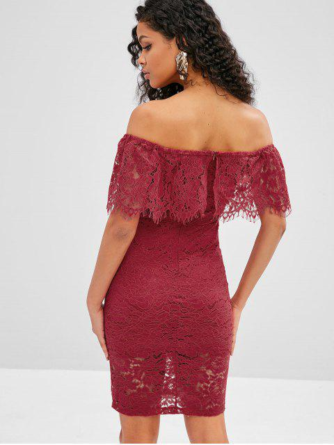 fashion Off Shoulder Flounce Lace Bodycon Dress - RED WINE M Mobile