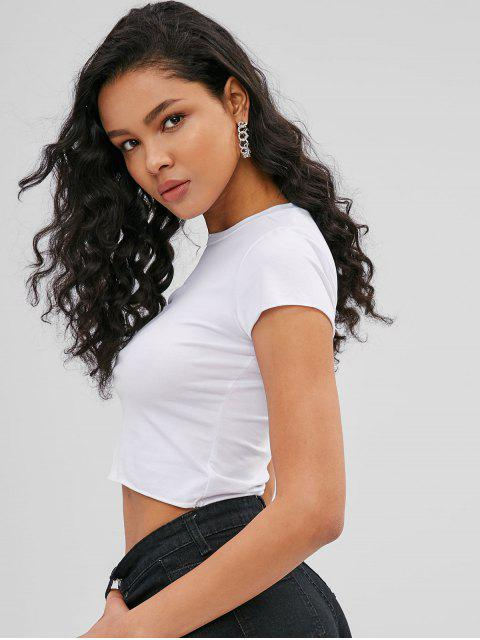 womens Plain Short Sleeve Crop T-shirt - WHITE ONE SIZE Mobile