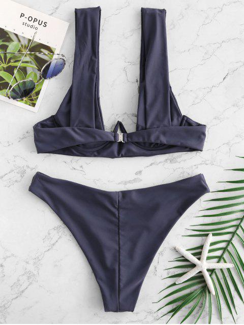 latest ZAFUL Underwire Plunging Bikini Set - LIGHT SLATE GRAY S Mobile