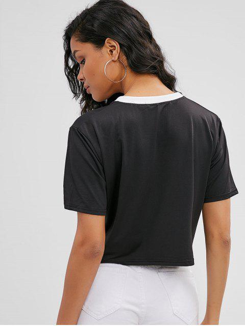 Camiseta con letra suelta - Negro S Mobile