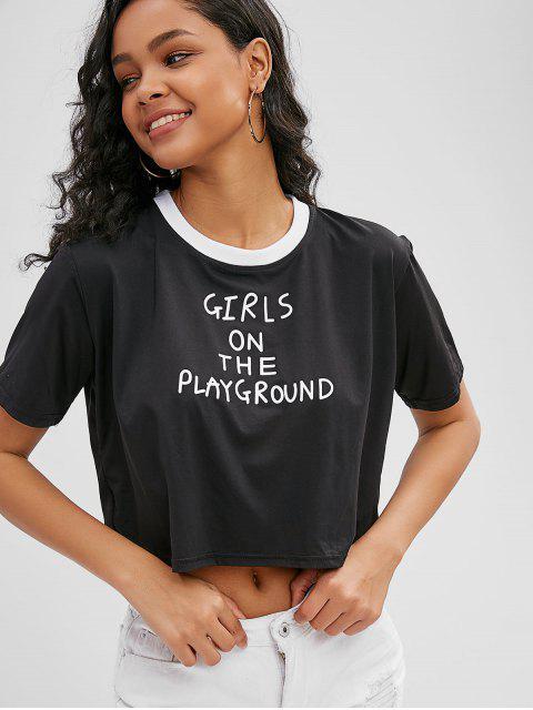 Camiseta con letra suelta - Negro XL Mobile