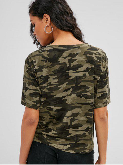 Camiseta suave con estampado de camuflaje y dobladillo - ACU Camuflaje M Mobile