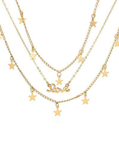 Star Shape Multilayered Alloy Necklace