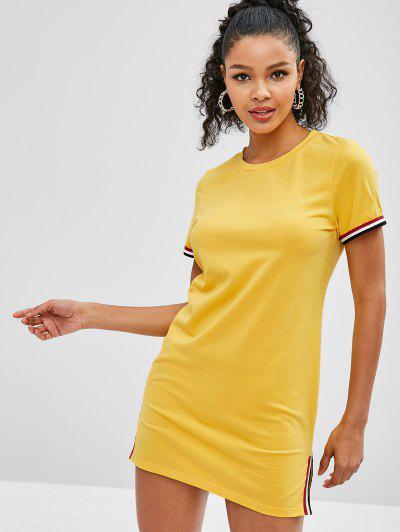 48a85fac46b ZAFUL Slit Striped Trim Tee Dress - Bee Yellow L