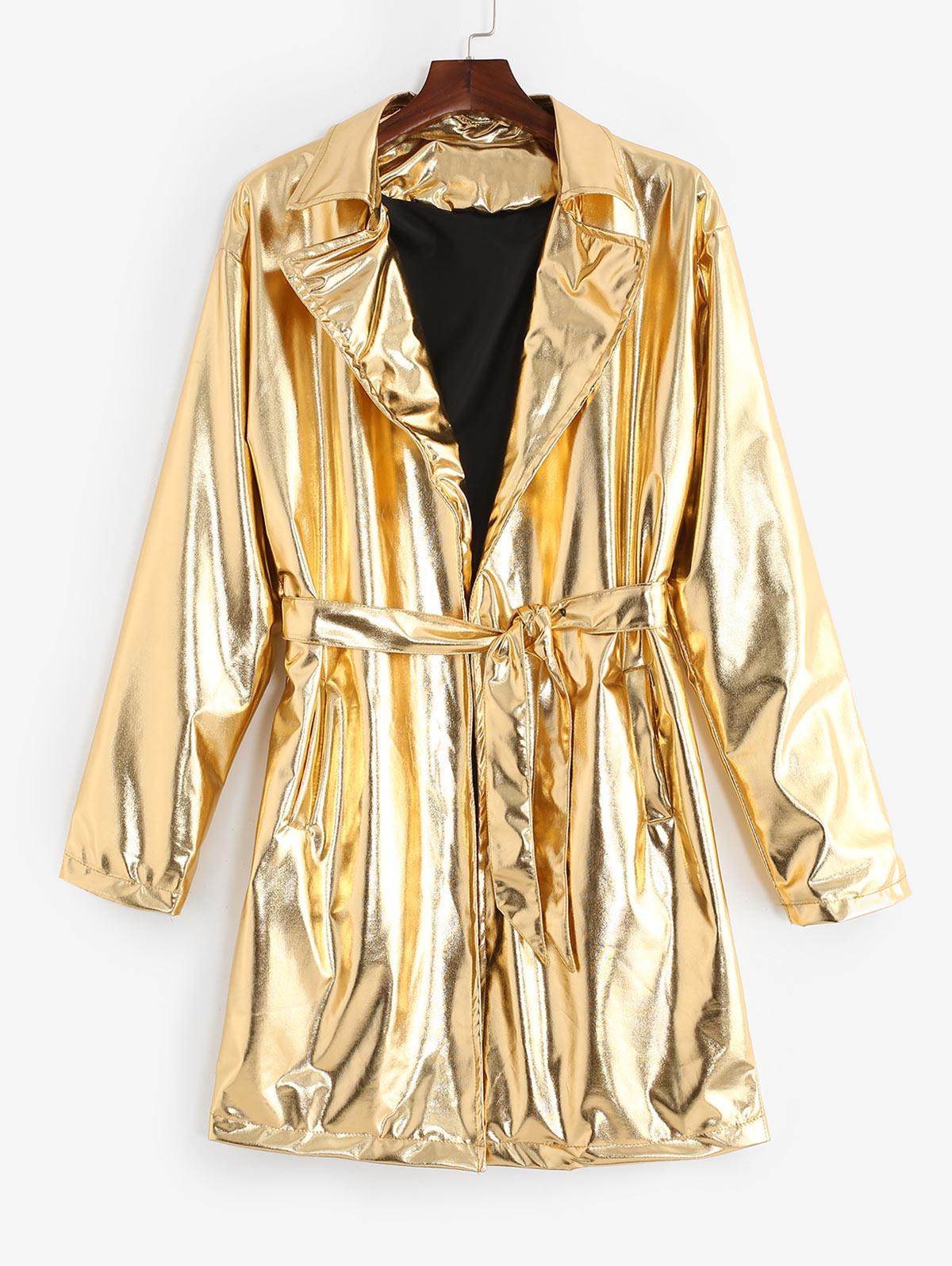 Solid Color Long Metallic Trench Coat, Gold
