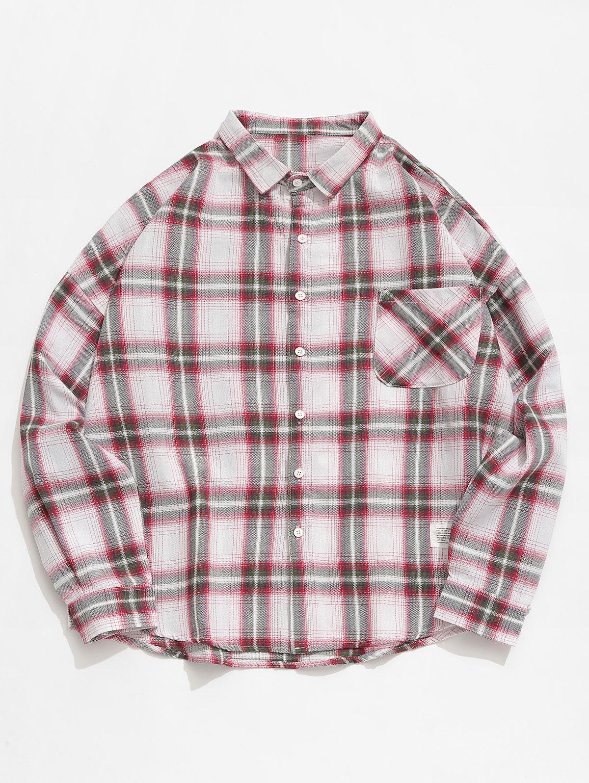 Applique Plaid Long Sleeves Shirt