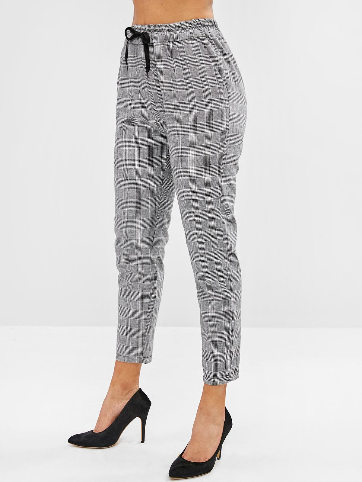 Checkered Drawstring High Waisted Tapered Pants, Multi-a