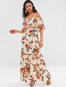 Vestido Largo Con Estampado De Flores Con Volantes Y Borlas De Zaful