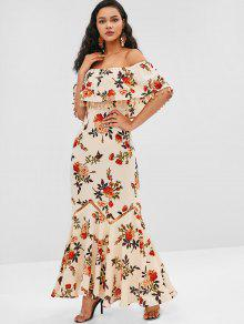 ZAFUL Tassel Flanger زهرة طباعة فستان طويل - بلانشيد اللوز M