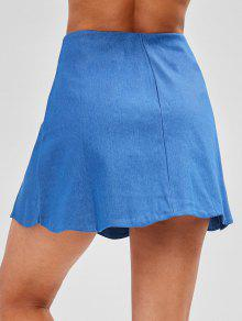 special sales perfect quality vast selection Button Fly Scalloped Denim Skirt