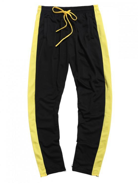Pantalones deportivos de rayas laterales en contraste - Negro 2XL