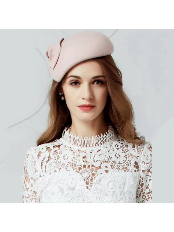 2019 British Style Leaf Embellished Faux Wool Pillbox Hat In ... c8be7e83dfb