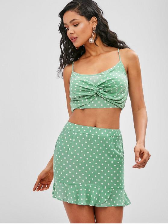 women ZAFUL Smocked Back Polka Dot Cami Skirt Set - DARK SEA GREEN L