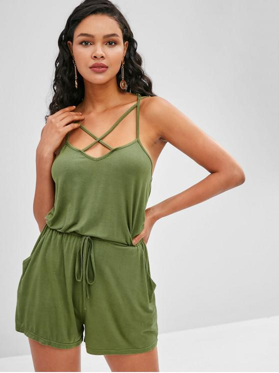 affordable ZAFUL Criss Cross Cami Romper - ARMY GREEN S