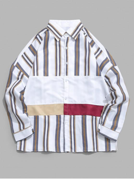 fancy Color Block Patchwork Striped Shirt - MULTI-A 2XL
