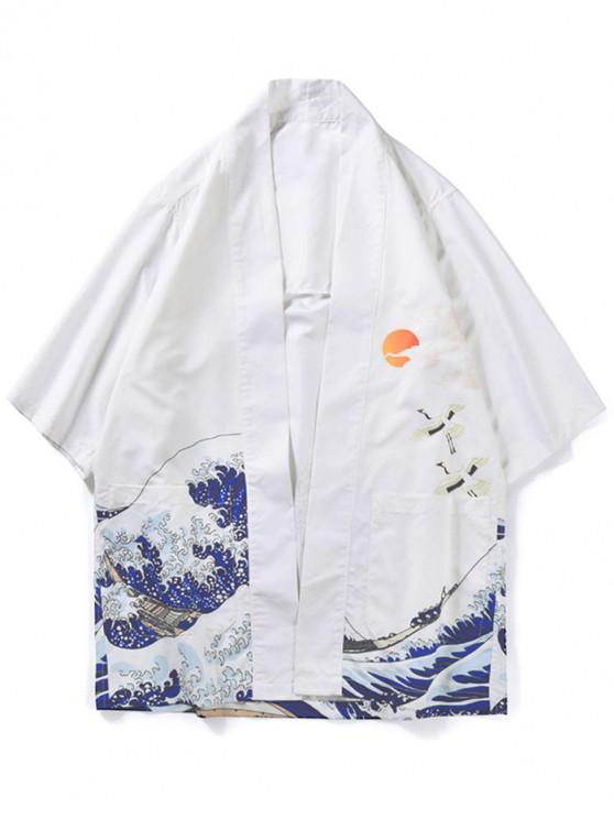 new Ocean Wave Sun Print Kimono Cardigan - WHITE 2XL