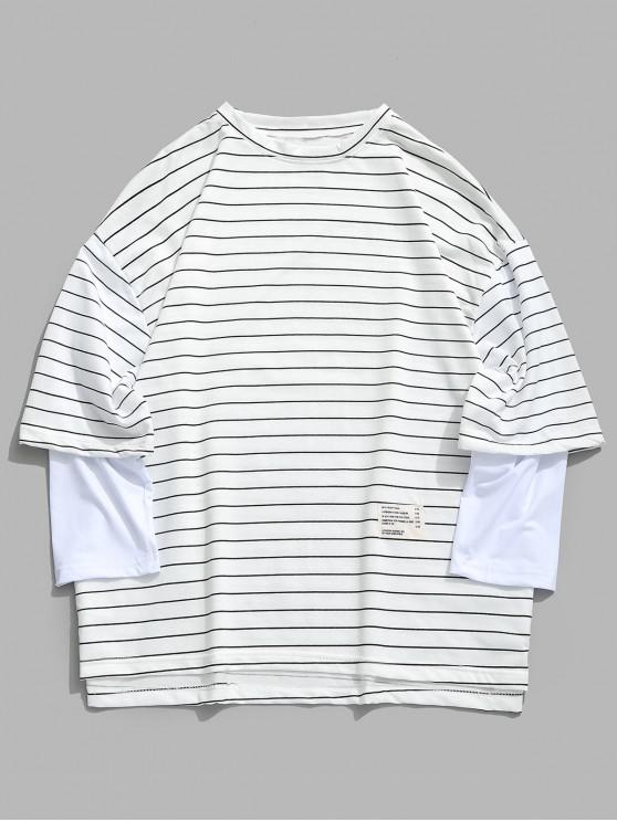 online Casual Striped False Two Piece T-shirt - WHITE 3XL