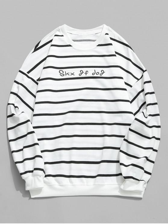 hot Letter Striped Long Sleeve T-shirt - WHITE L