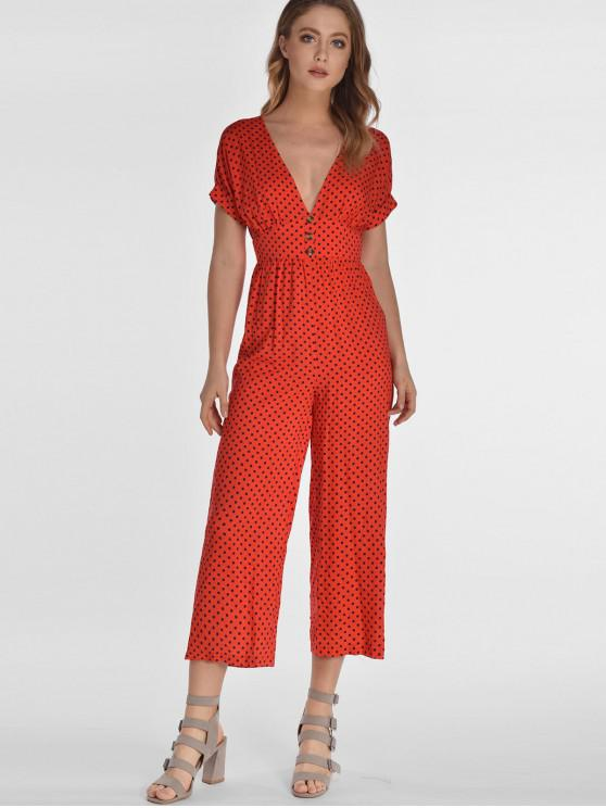 shops ZAFUL Polka Dot Plunge Capri Jumpsuit - RED S