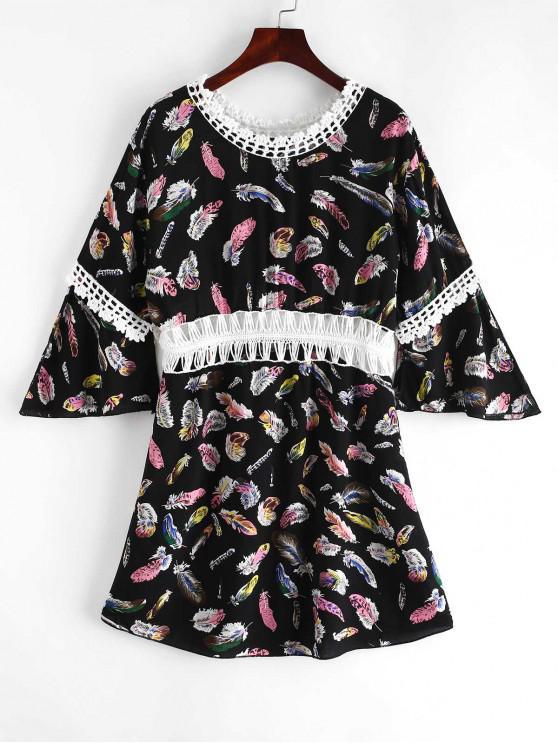fashion Feather Print Crochet Panel Beach Dress - BLACK ONE SIZE
