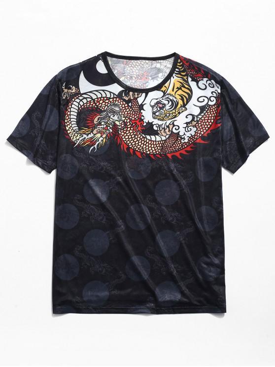 chic Dragon Print Smooth Jacquard Tee - BLACK 2XL