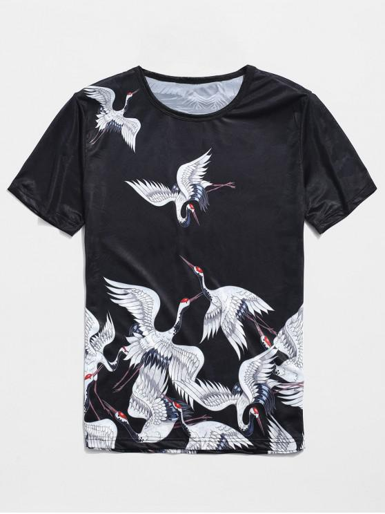 ladies Cranes Print Jacquard Smooth Tee - BLACK XL