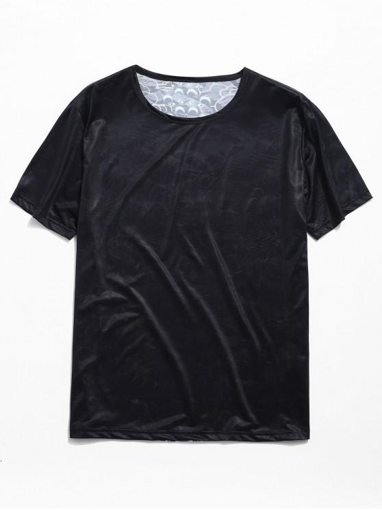 affordable Smooth Peking Opera Graphic Back Tee - BLACK L