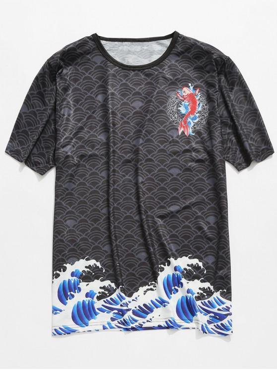 online Fancy Carp Print Smooth Jacquard Tee - BLACK 2XL