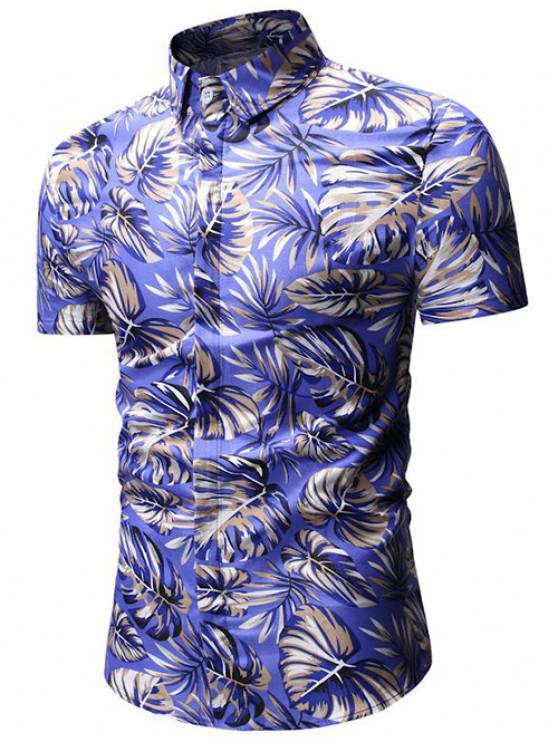 Tropisches Blatt-Druck-Shirt - Ozeanblau XL
