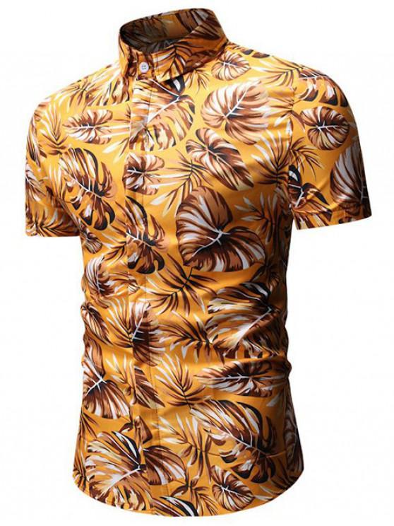 Tropisches Blatt-Druck-Shirt - Gold 2XL