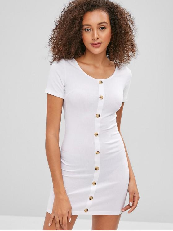 Mini Robe Moulante Côtelée Contrastée avec Boutons - Blanc M