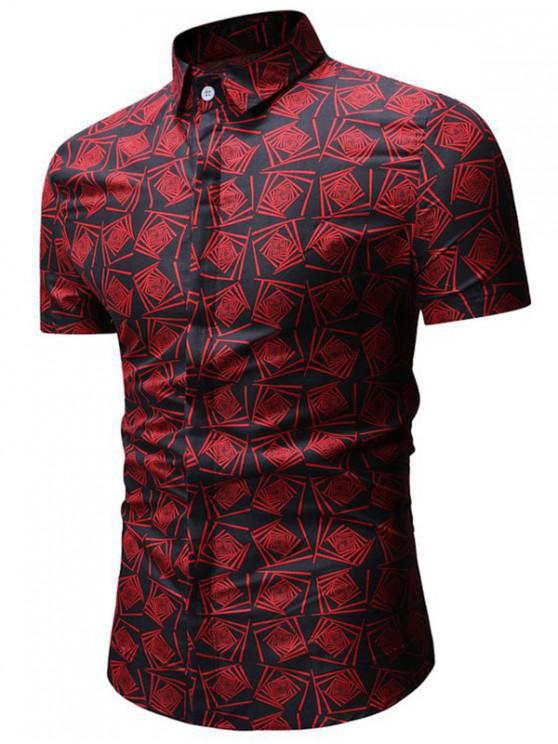 chic Geometric Print Short Sleeve Shirt - BLACK 3XL